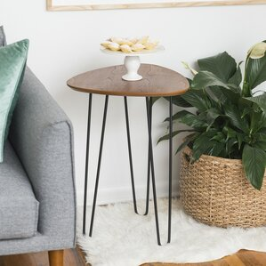 Bisson Hairpin Leg Wood End Table by Varick Gallery
