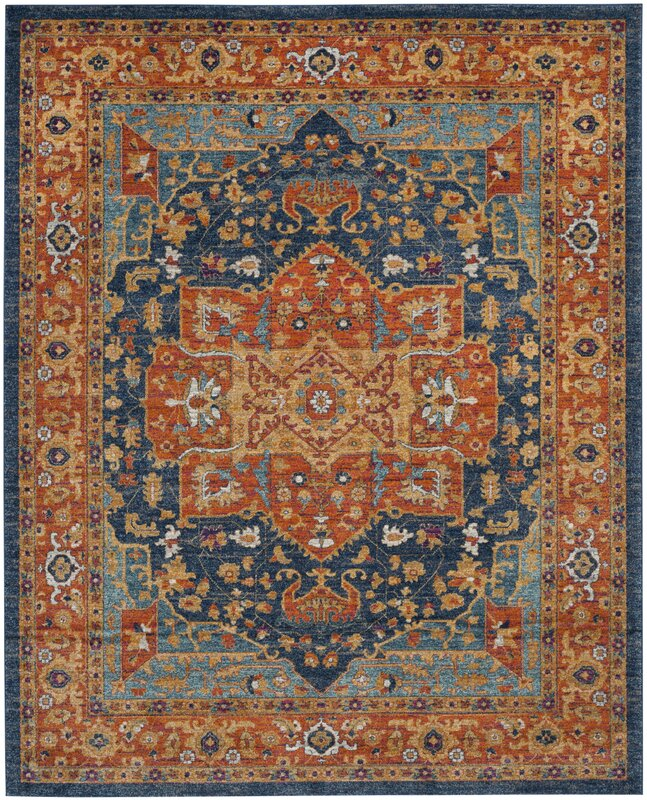 Trent Austin Design Battista Blue Orange Area Rug