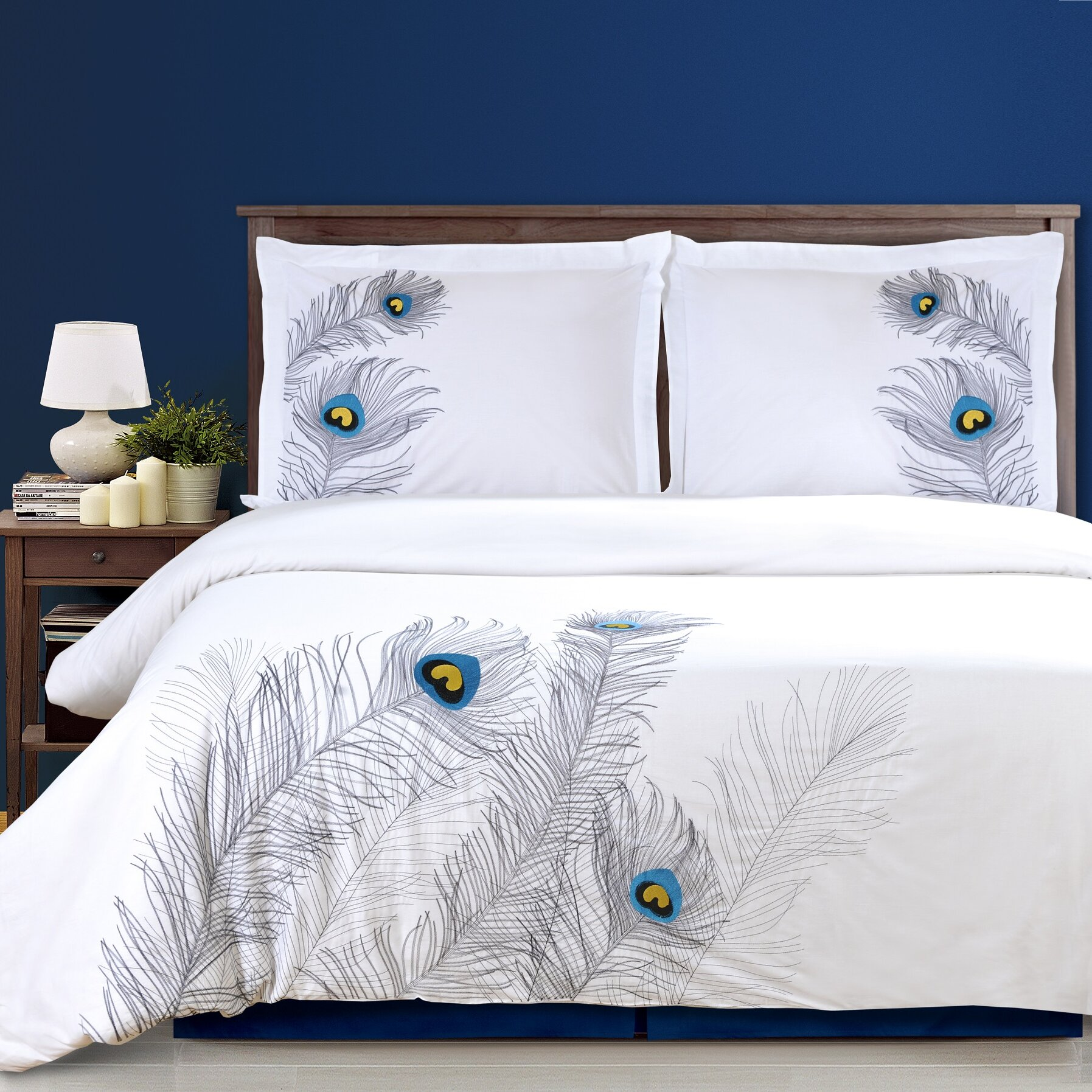 Simple Luxury Peacock 3 Piece Embroidered Reversible Duvet Cover Set U0026  Reviews | Wayfair