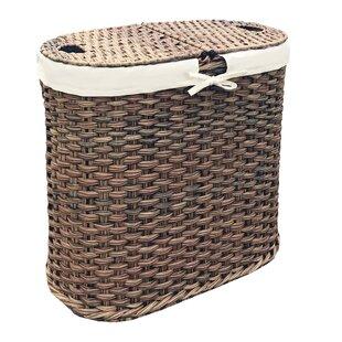 Wicker Oval Double Laundry Hamper