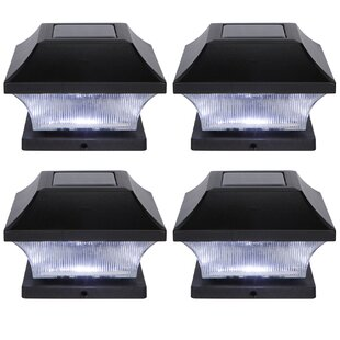 Solar Garden Pathway 4 Led Fence Post Cap Set Of