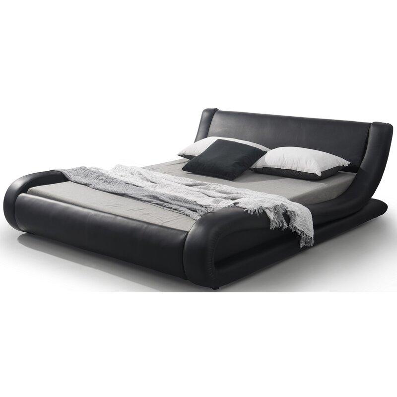 Melrose Upholstered Platform Bed Reviews Allmodern - Logan-leather-bed-with-adjustable-headboard