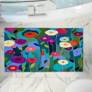 Contemporary Flowers Memory Foam Bath Rug