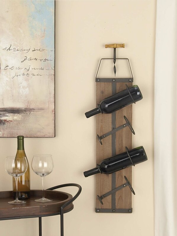Wall Wine Racks Part - 50: Wood/Metal 4 Bottle Wall Mounted Wine Rack
