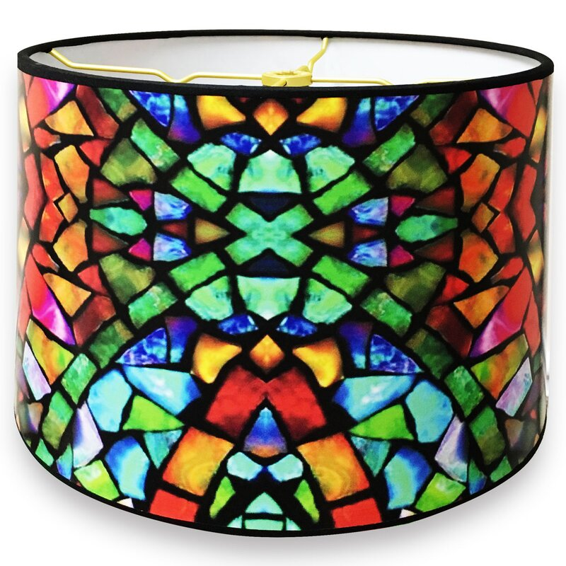 Royaldesigns mosaic stained glass printed designer hard back 10 mosaic stained glass printed designer hard back 10 paper drum lamp shade audiocablefo