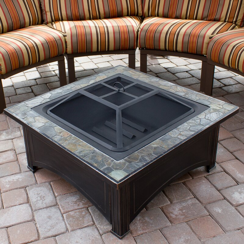 Patio Table With Wood Burning Fire Pit: AZ Patio Heaters Steel Wood Burning Fire Pit Table