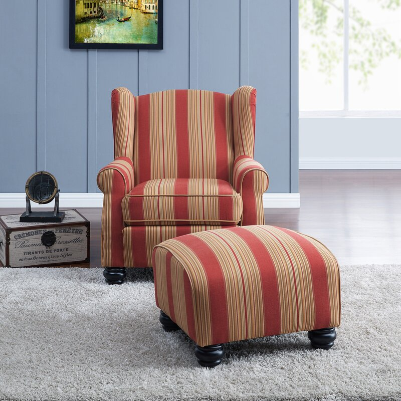 Darby Home Co Brougham Wingback Chair And Ottoman