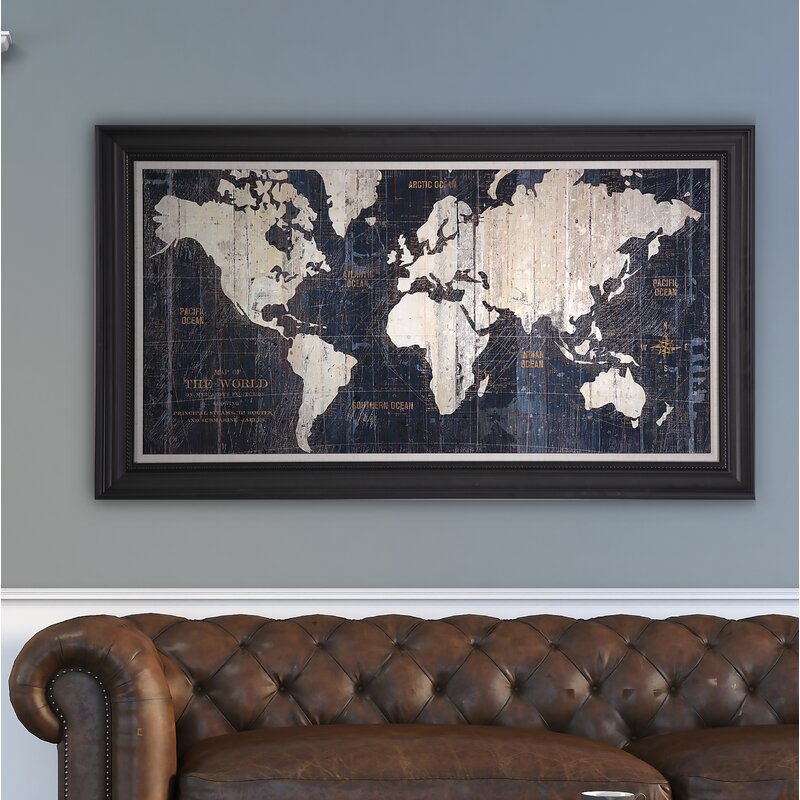 Old World Map Blue\' Framed Graphic Art on Wrapped Canvas & Reviews ...
