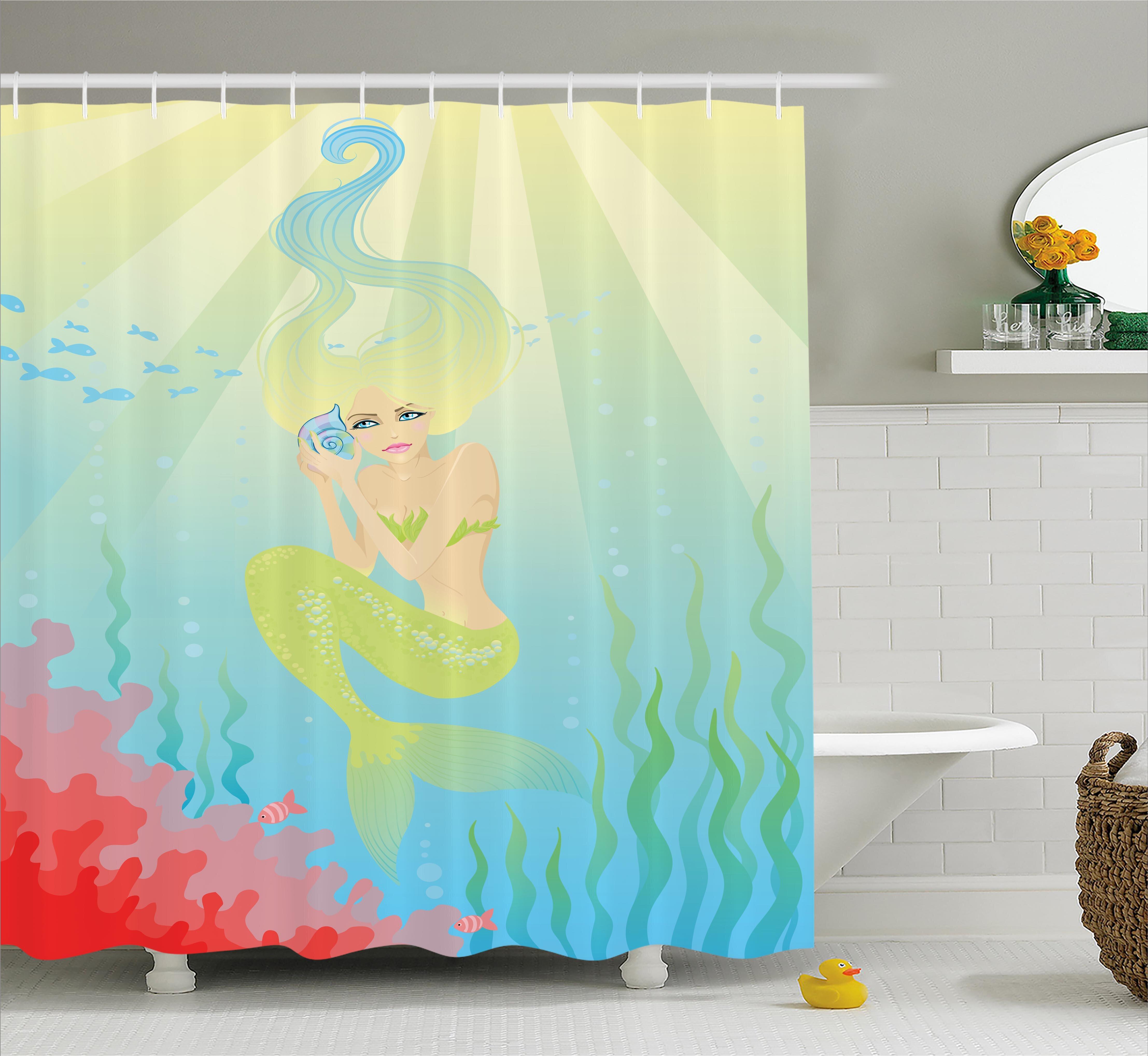 East Urban Home Ocean Unusual Mermaid Shell Shower Curtain