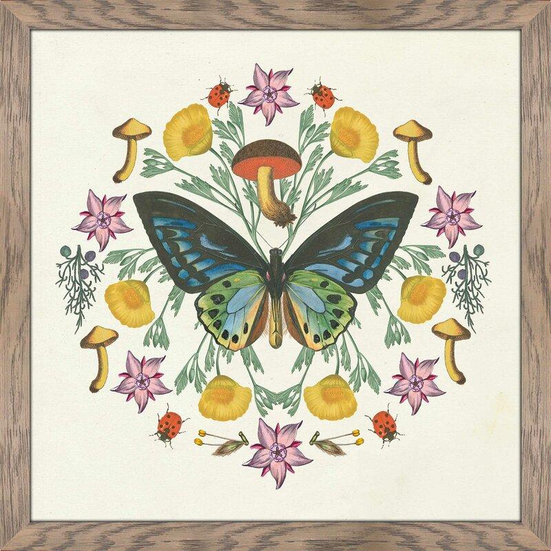 Butterfly Mandala IV\' Framed Acrylic Painting Print on Glass | Joss ...