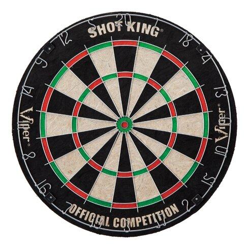 Shot King Bristle Dartboard Cabinet Set In Oak