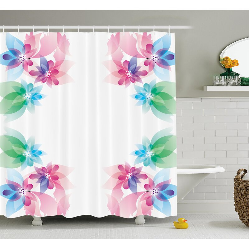 Ambesonne Flower Abstract Petals With Digital Hazy Reflections Bridal Buds Exquisite French Style Pattern Shower Curtain Set