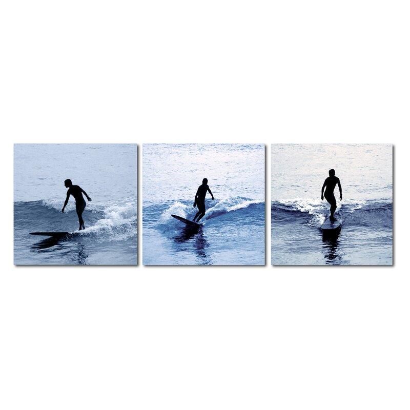 Wholesale Interiors Baxton Studio Surf Silhouettes 3 Piece Framed ...