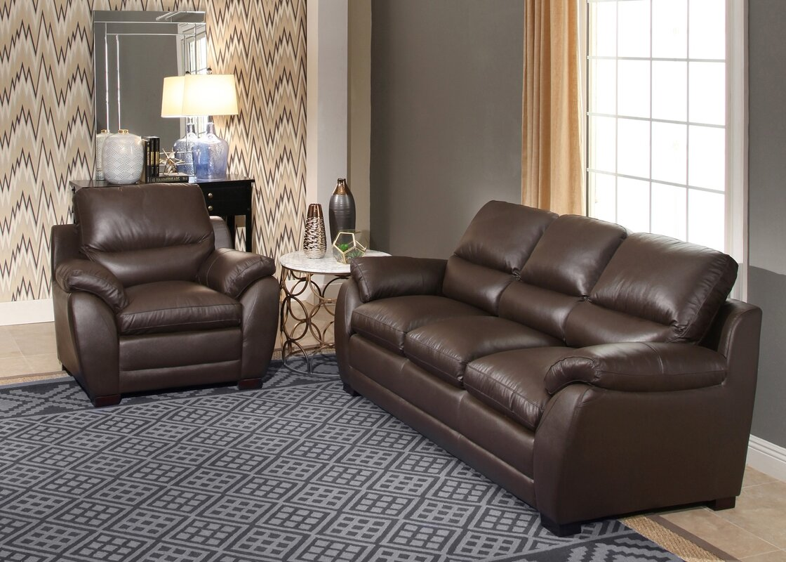 Orren ellis bridgeyate 2 piece leather living room set reviews 2 piece leather living room set