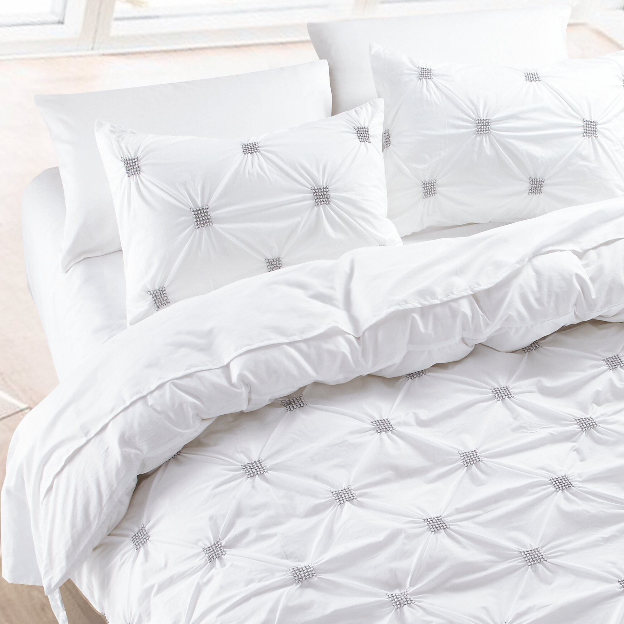 NMK Textiles, INC Diamond Pintuck 100% Cotton Duvet Cover Set u0026 Reviews |  Wayfair
