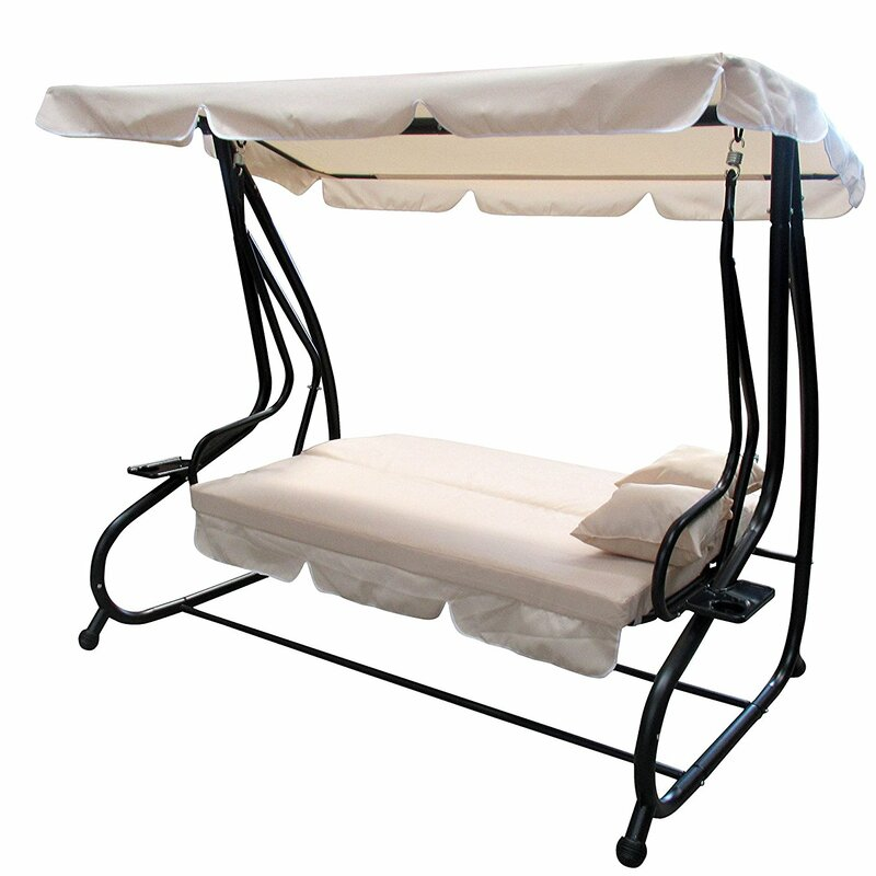 Laseter Canopy Patio Porch Swing with Pillows and Cup Holders - Winston Porter Laseter Canopy Patio Porch Swing With Pillows And Cup