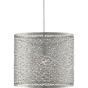 Silverchrome light shades wayfair liskeard 255cm metal drum pendant shade aloadofball Choice Image