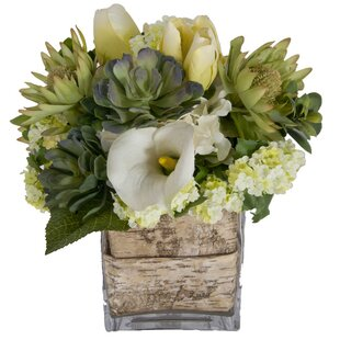 Faux white flowers in vase wayfair faux white flowers and succulents in decorative vase mightylinksfo