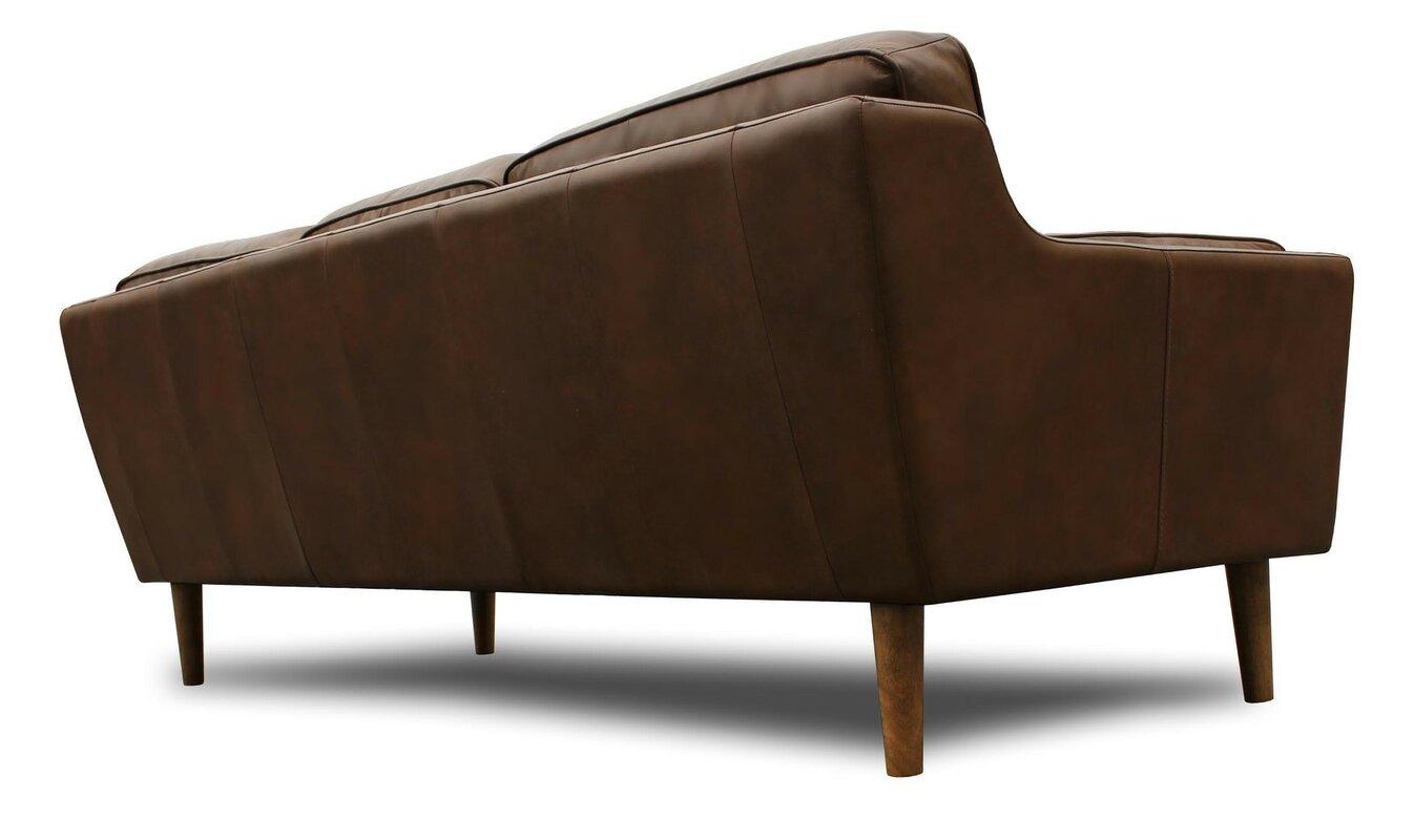 Union Rustic Kaufman Mid Century Modern Leather Sofa