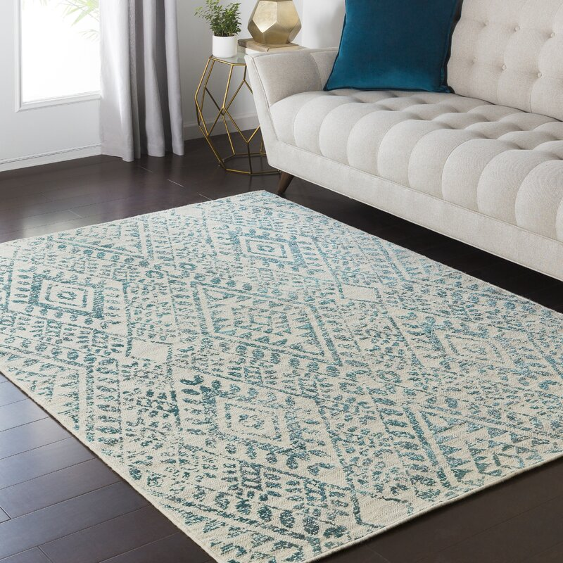 Bungalow Rose Puran Teal Cream Area Rug Amp Reviews Wayfair
