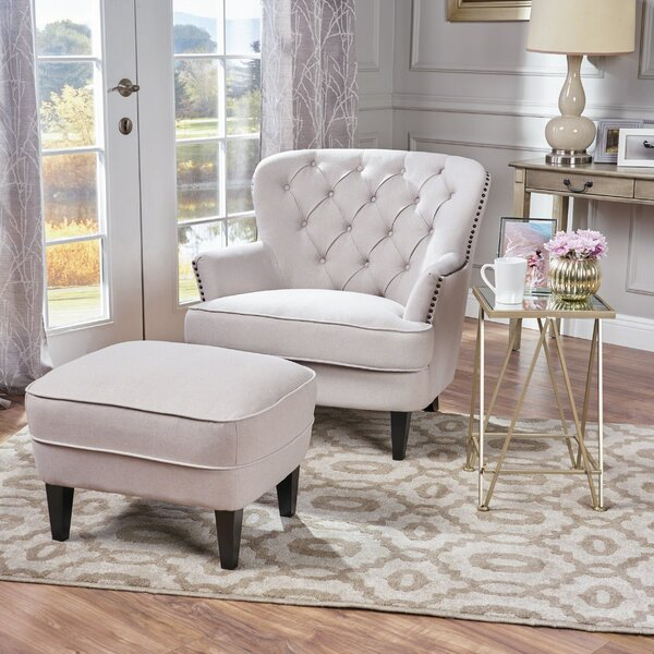 Heywood armchair and ottoman reviews birch lane - Accent chairs in living room ideas ...