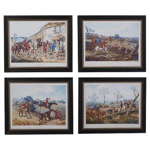 19th century hunting engravings 4 piece painting print decor set set of 4