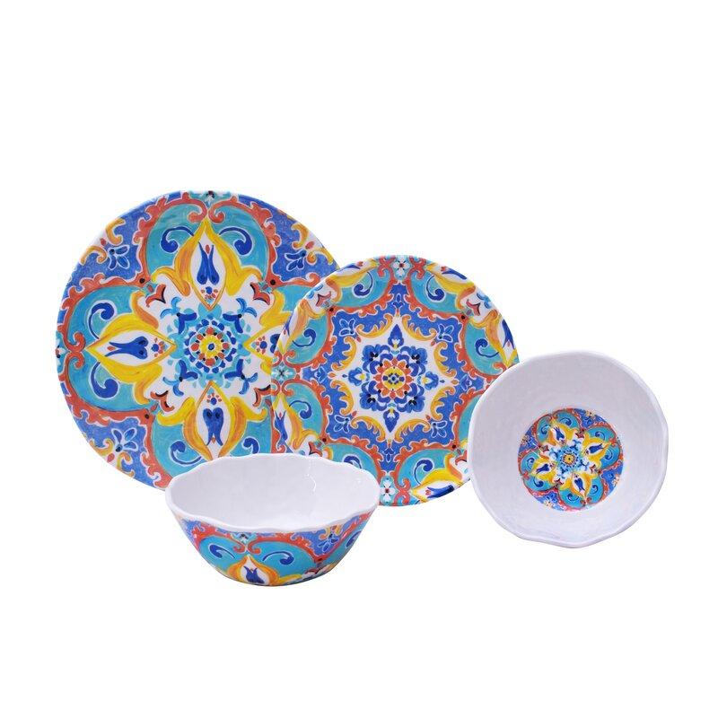 Romella 12 Piece Melamine Dinnerware Set Service for 4  sc 1 st  Joss \u0026 Main & Romella 12 Piece Melamine Dinnerware Set Service for 4 \u0026 Reviews ...