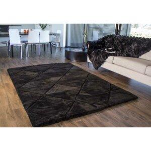 Shortwool Black Design Rug