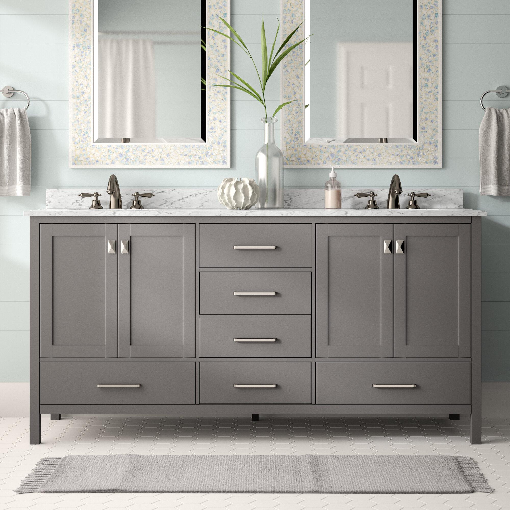 "Beachcrest Home Newtown 72"" Double Bathroom Vanity Set & Reviews | Wayfair"