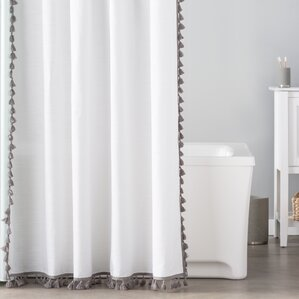 gray and white striped shower curtain. Everardo 100  Cotton Tassel Shower Curtain Curtains Birch Lane