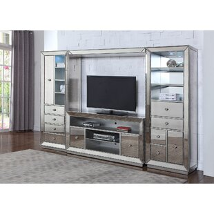 mirrored entertainment center for tvs up to 58 - Glass Entertainment Center