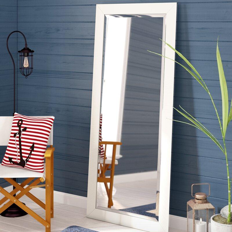 Longshore Tides Maci White Satin Full Length Beveled Body Mirror