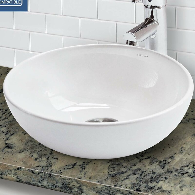 Classically Redefined Vitreous China Circular Vessel Bathroom Sink