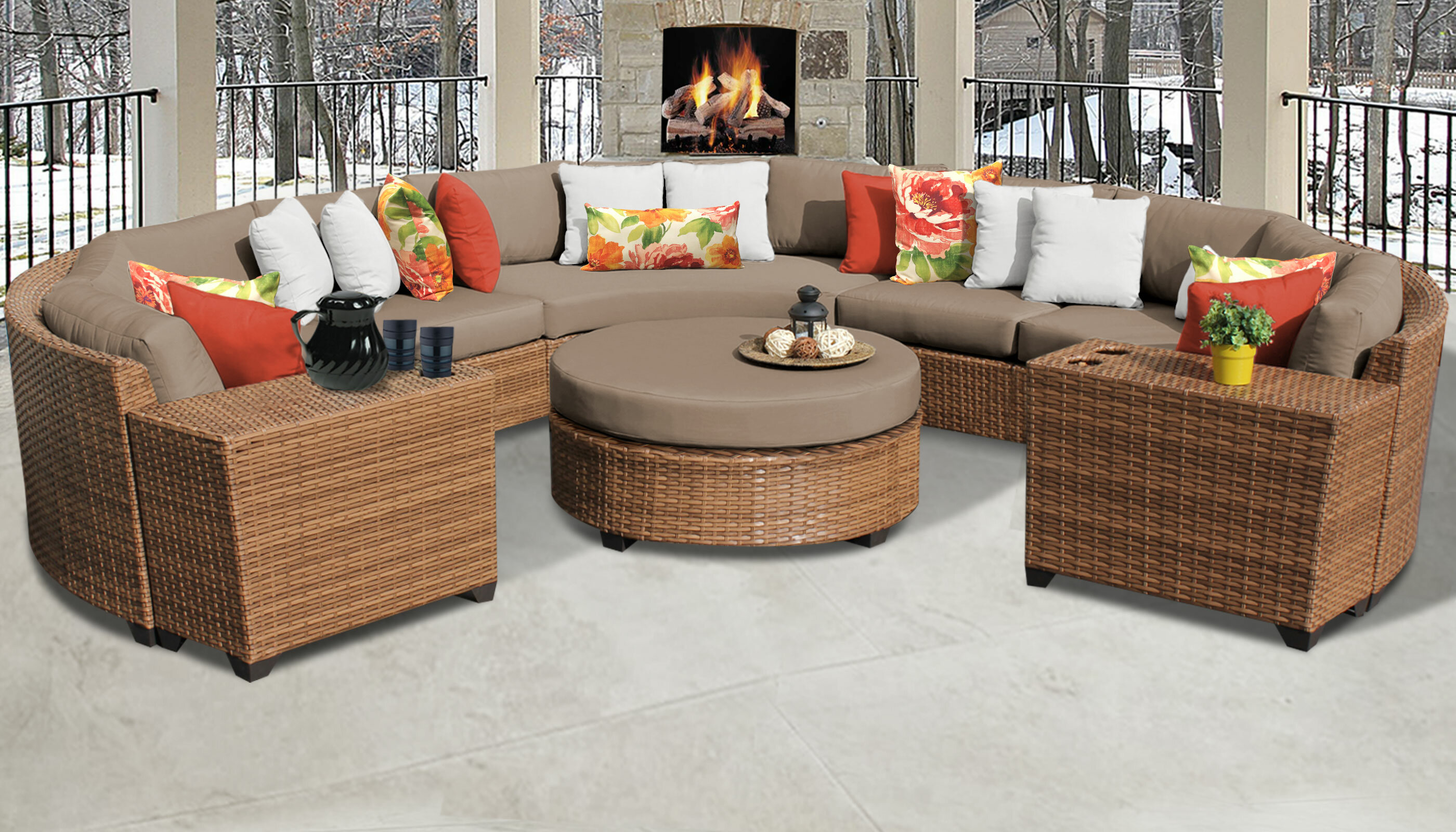 Superb Rosecliff Heights Medina 8 Piece Sectional Seating Group Customarchery Wood Chair Design Ideas Customarcherynet