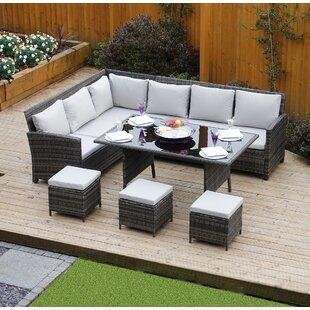 8 Seater Rattan Effect Sofa Set