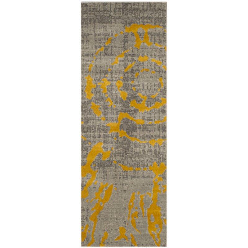 World Menagerie Chaima Light Gray Yellow Area Rug