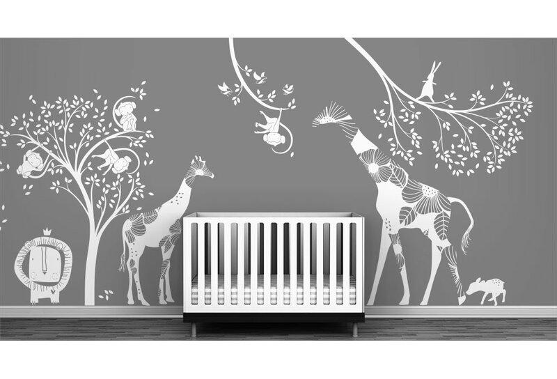 littlelion studio baby jungle wall decal | wayfair