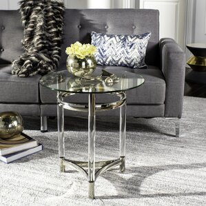 Alexios Round Glass End Table by Everly Quinn