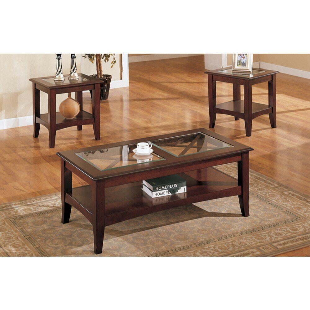 Charlton Home Holte Wooden 3 Piece Coffee Table Set With Glass Top
