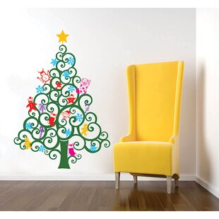 Charmant Happy Christmas Tree Wall Decal