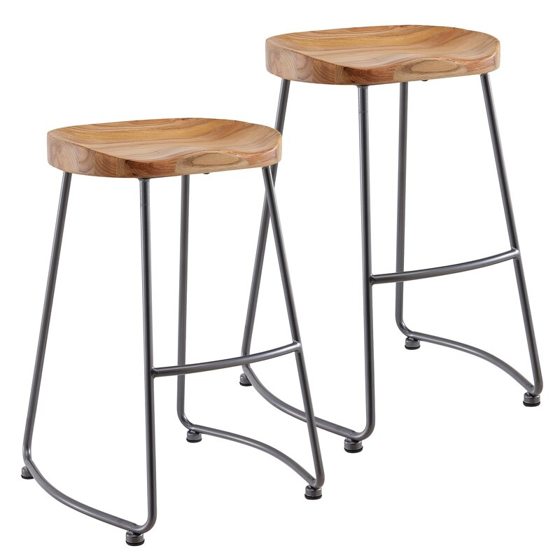 Shannan Solid Wood Metal Counter Stool
