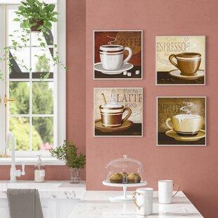 Espresso, Coffee, Latte, Cappuccino 4 Piece Graphic Art Wall Plaque Set