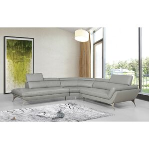 Collison Leather Reclining Sectional by Orren Ellis