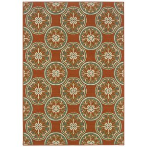 Newfield Orange/Ivory Indoor/Outdoor Area Rug