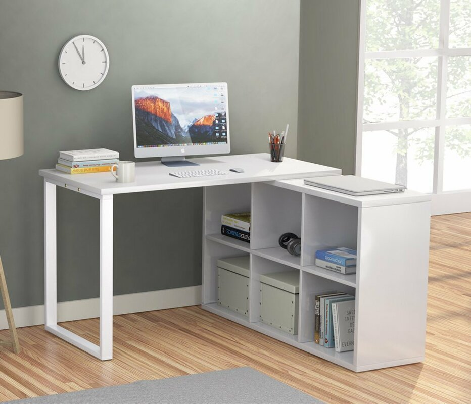 Britni Modern Corner L Shape Computer Desk With 6 Storage Unit Combo