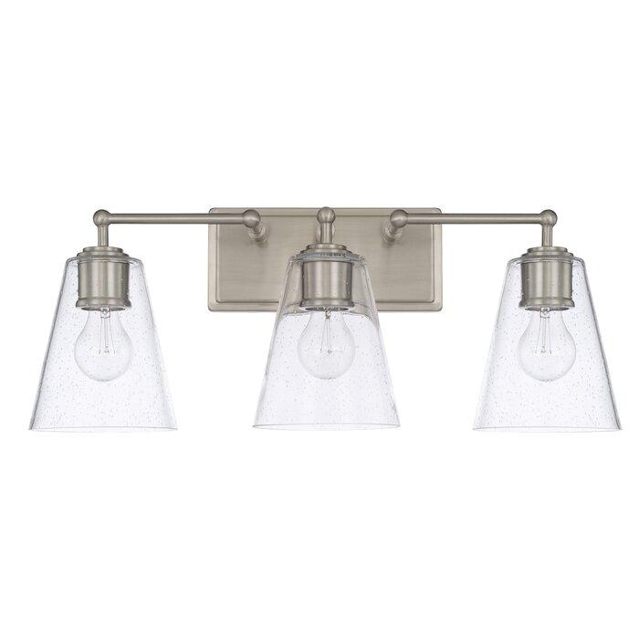 Three Posts Gallego 3 Light Glass Shade Vanity Light Reviews