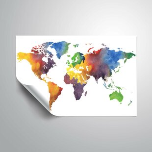 Colorful world map wayfair gillham colorful world map wall decal gumiabroncs Gallery