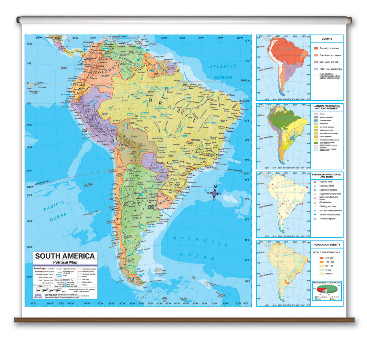 Universal Map Advanced Political Map - South America | Wayfair