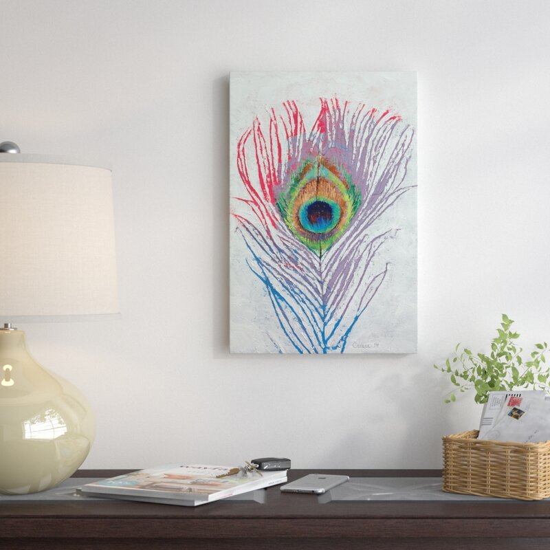 Peacock Feather Painting Print On Canvas
