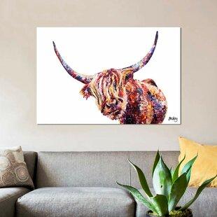 5d17f93449c 'Olivia`s Highland Cow' Graphic Art Print on Canvas